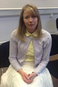 Charlotte Tait as Alice Tinker in the Duns Player's performance of The Vicar of Dibley.