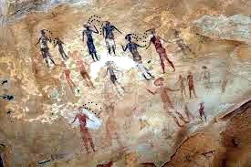 Cave painting showing crying cave people