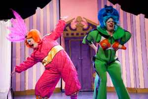 Dan Smith and James Peake as the Ugly Sister in Bespoke Theatre Ltd's production of Cinderella