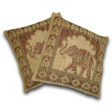 Tapestry elephant cushions