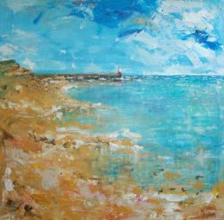 View to Berwick Lighthouse by Chris Morrison, Pier Red Art Gallery, Castlegate, Berwick-upon-Tweed